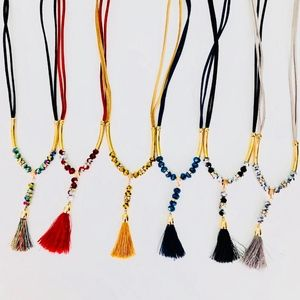 Beaded Boho Tassel Necklaces multiple colors